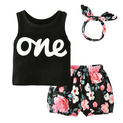 Summer Newborn Toddler T-shirt Lettering Floral Shorts Baby Clothes for Girl