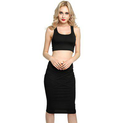 Sexy Women Bodycon Casual Clubwear Party Crop Top and Wrap Skirt Set