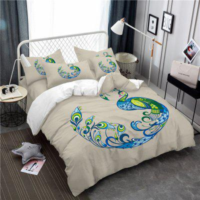 Embroidery Peacock Feather Series Bedding SK12 White Three Pieces