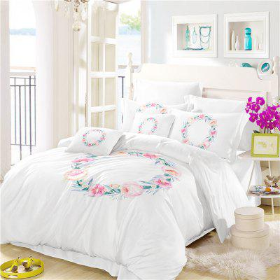 Embroidered Leaf Petals Color Painting Series Three Pieces of Bedding Wreath SK05
