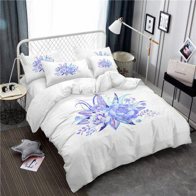 Embroidered Leaf Petals Color Painting Series Three Pieces of Bedding Set
