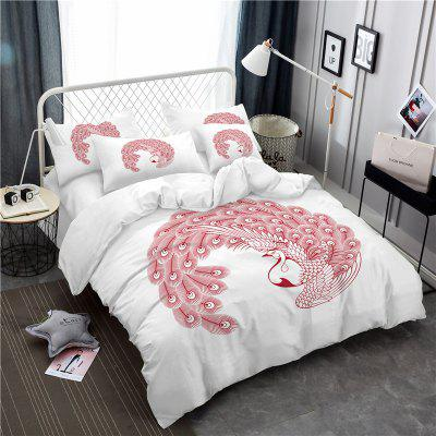 Embroidered Swan Feather Series Three Pieces of Bedding SK03