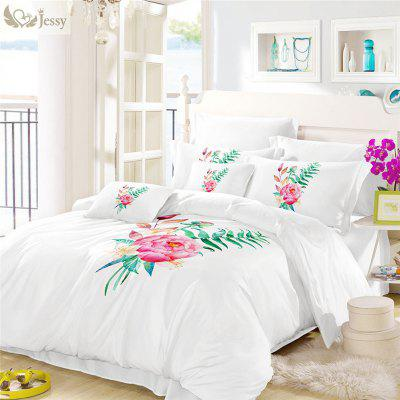 Embroidered Leaf Petal Color Drawing Series Three Pieces of Bedding SK02