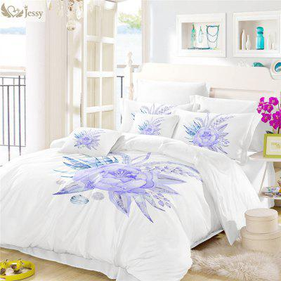 Embroidered Leaf Petals Color Painting Series Three Pieces of Bedding Set Saussurea Sk01