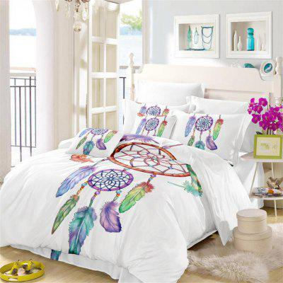 Embroidered Feather Bell Pattern Painting Series Three Pieces of Bedding Set AS12