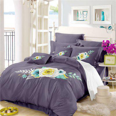 Embroidered Leaf Petals Color Painting Series Three Pieces of Bedding SK06