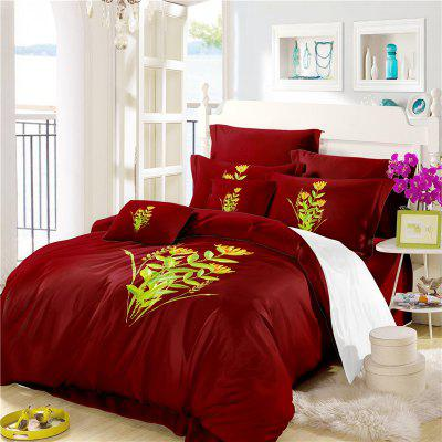 Embroidered Leaf Petals Color Drawing Series Bedding Seven Leaves Three Pieces SK10