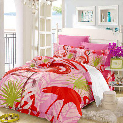 Embroidered Leaf Flamingo Series Bedding Three or Four Pieces Bedding Sets AS15