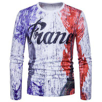 Casual Fashion Personality Digital Printing Ink France Letter Long Sleeved T-Shirt