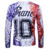 Casual Fashion Personality Digital Printing Ink France Letter Long Sleeved T-Shirt - WHITE