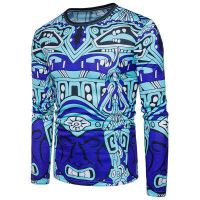 New Spring Abstract Character Screen Printing Cotton Long Sleeved T-Shirt