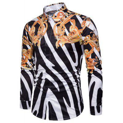 3D Digital Print Striped Men Long Sleeve Shirt piranha 483116бд