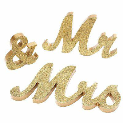 170717Party MRMRS Gold Glitter Letters Wooden Props Home Furnishing Decorative Ornaments 1SET