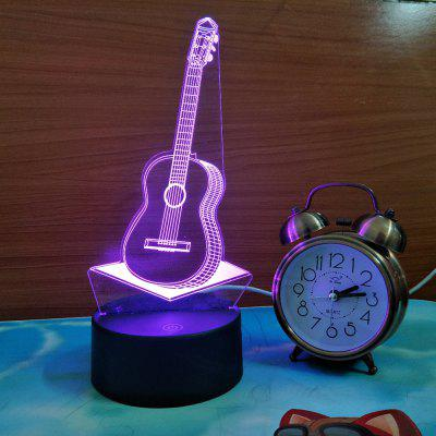 3D  Guitar USB Touch And Control 7 Colour Night Light Bedroom Bedside LED Lamp