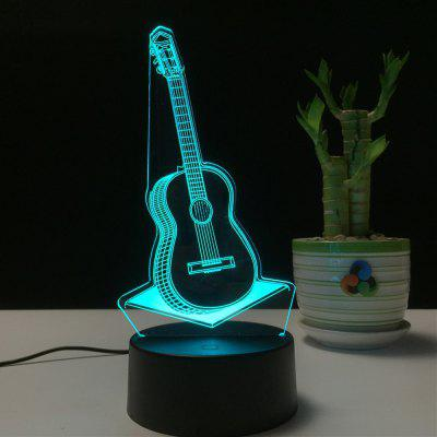 3D  Guitar Remote Control Board USB Touch 7 Color Night Light LED Bedroom Bedside Lamp