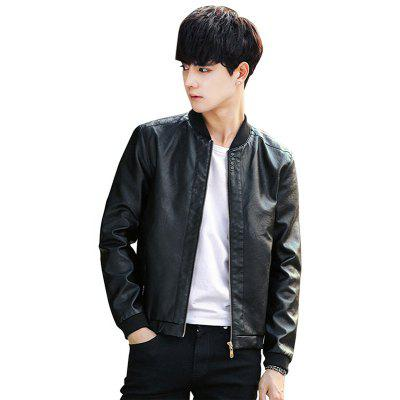 Men's Coat Spring and Autumn 2018 New Handsome Trend PU Leather Jacket