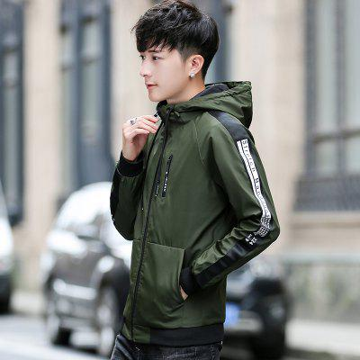2018 Spring Fashion Men Hooded JacketsMens Jackets &amp; Coats<br>2018 Spring Fashion Men Hooded Jackets<br><br>Clothes Type: Jackets<br>Collar: Hooded<br>Fabric Type: Broadcloth<br>Material: Polyester<br>Package Contents: 1 x Jacket<br>Season: Spring, Fall, Winter<br>Shirt Length: Short<br>Sleeve Length: Long Sleeves<br>Style: Casual<br>Weight: 0.6000kg