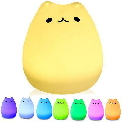 Portable LED Children Night Light Kids Multicolor Silicone Cat Lamp Warm White and 7-COLOR Breathing Dual  Modes