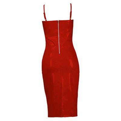 The V-neck Sling Zips DressMini Dresses<br>The V-neck Sling Zips Dress<br><br>Dresses Length: Knee-Length<br>Elasticity: Nonelastic<br>Fabric Type: Batik<br>Material: Polyester<br>Neckline: Plunging Neck<br>Package Contents: 1 x Dress<br>Pattern Type: Solid<br>Season: Spring<br>Silhouette: Sheath<br>Sleeve Length: Sleeveless<br>Style: Sexy &amp; Club<br>Weight: 0.3000kg<br>With Belt: No