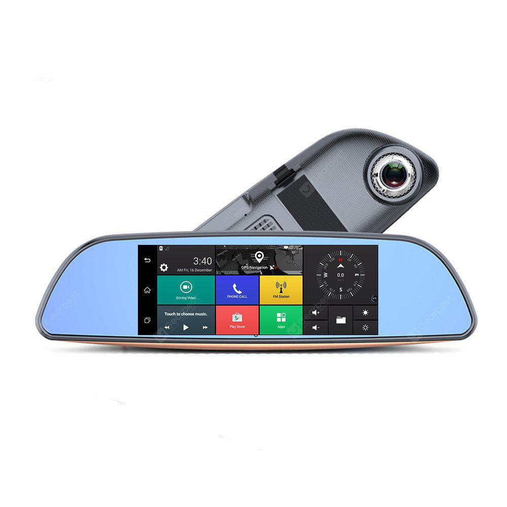 H2 7 Inch 3G Car DVR Android 5.0 Bluetooth WIFI GPS Dual Lens Rearview Mirror Camera FHD 1080P