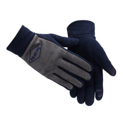 PolarFire Men'S Outdoor Warm Cold-Proof Wind-Proof Touch Screen Micro Fleece Full-Finger Winter Sports Gloves