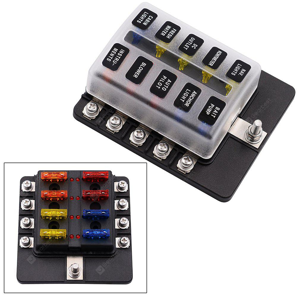 10 Way 12V 24V Blade Fuse Box Holder with LED Warning Light Kit for Fuse Box Car Lights on 2014 impala brain box, car tool box, car breaker box, car fuel pump, car switch box, car steering shaft, car starter box, car belt tensioner, car frame, car ac fuses, car resistor box, car resistance box, car ignition lock, car fuel line, car glove box, car fan blade, circuit breaker box, 1999 mazda 626 relay box, car wiring harness box, car battery,