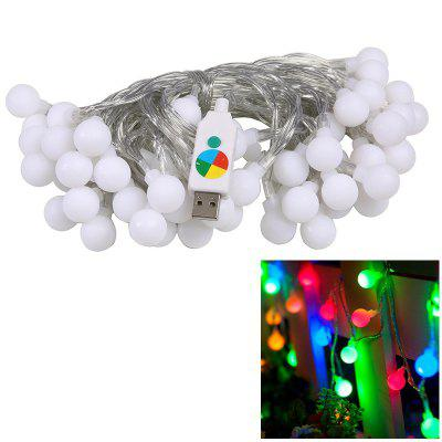 1PC USB Power 10M 60LEDS Led String Lights 8MODES White Ball Light Christmas New Year Wedding Party Bedroom DC5V