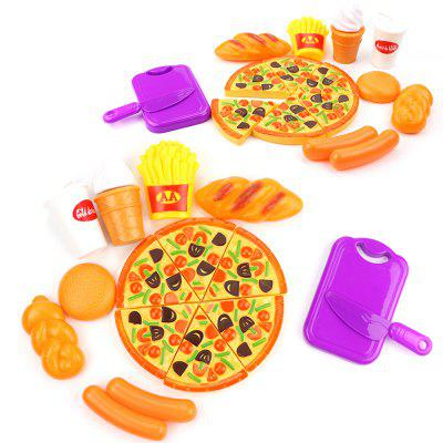 Crianças Kitchen Playing Simulation Pizza Cutting Fruit Food Toys 15PCS