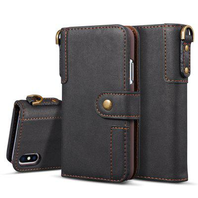 Cover Case for iPhone X Retro Cowhide Material Leather with Sling