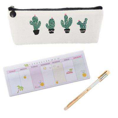 New Learning Stationery Small Fresh Cactus Canvas Pen Bag Note This Can Wipe Gel Pen Set