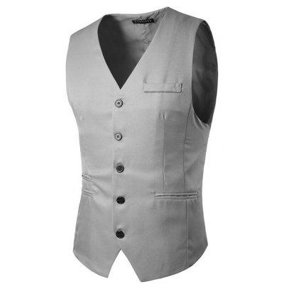Buy LIGHT GRAY 2XL Men's Suit Vest V Neck Regular Fit Waistcoat for $23.41 in GearBest store