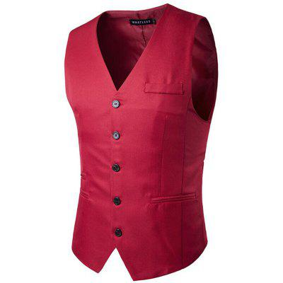 Buy RED XL Men's Suit Vest V Neck Regular Fit Waistcoat for $23.27 in GearBest store