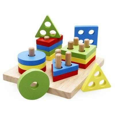 Wooden Educational Preschool Shape Color Recognition Geometric Board Block Stack Sort Chunky Puzzle Toy
