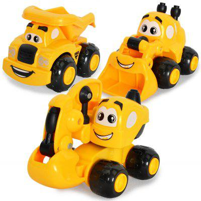 Kawaii Mini Cartoon Engineering Vehicles Inertial Car Excavator Sand Truck for Children 3PCS