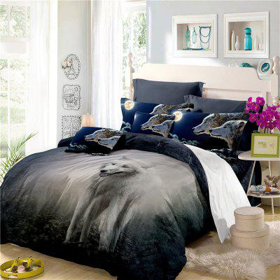 Moonlight Wolf Series Embroidery Three or FourPieces Beddings Set AS19