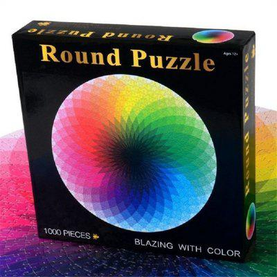 Round Jigsaw Puzzles Rainbow Palette Intellectual Game for Adults and Kids 1000PCS A