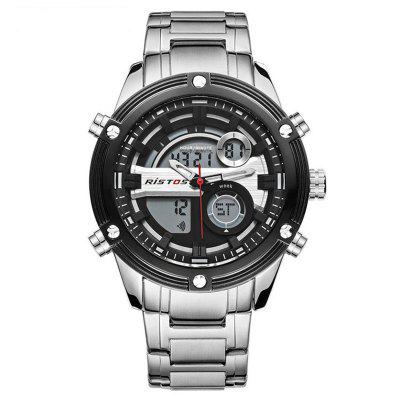 RISTOS Fashion Luxury Stainless Steel Business Chronograph Multifunction Men's Sport Watch