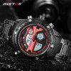 RISTOS Fashion Luxury Stainless Steel Business Chronograph Multifunction Men's Sport Watch - RED