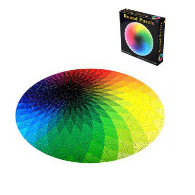 Round Jigsaw Puzzles Rainbow Palette Intellectual Game for Adults and Kids 1000PCS
