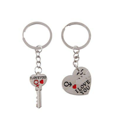 I LOVE YOU Letter Keychain Heart Ring Silvery Lovers Key Chain