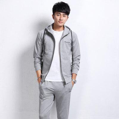 Two Pieces  Mens  Leisure Sports SuitSports Clothing<br>Two Pieces  Mens  Leisure Sports Suit<br><br>Material: Cotton, Polyester<br>Package Contents: 1 x  Coat,  1 x Pants<br>Pattern Type: Others<br>TZ909CY: None<br>Weight: 0.8000kg
