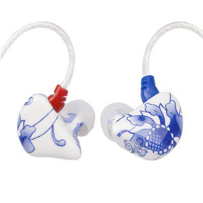 X6 Blue And White Porcelain Bass Phone Music Sports Headphones In-Ear with A Microphone
