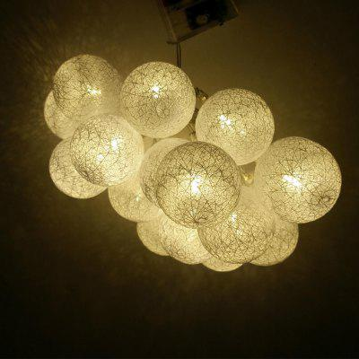 White Striped Cotton Ball String Lights Fairy Led Home Decor Light