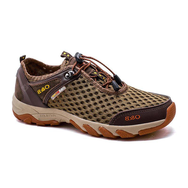 ZEACAVA Men's Fashion Outdoor Breathable Leather Mesh Shoes