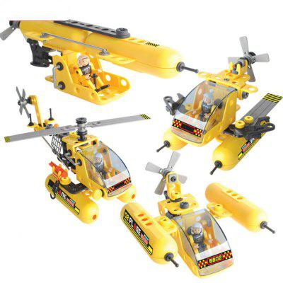 DIY 4 in 1 Education 3D Building Blcoks Airplane Trucks Space Ship Puzzle Kids Learning Toys 84PCS