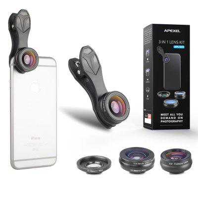 APEXEL APL - SJ3 Clip 3 in 1 Wide Angle Macro Fisheye HD Mobile Camera Lens Kit for iPhone Android