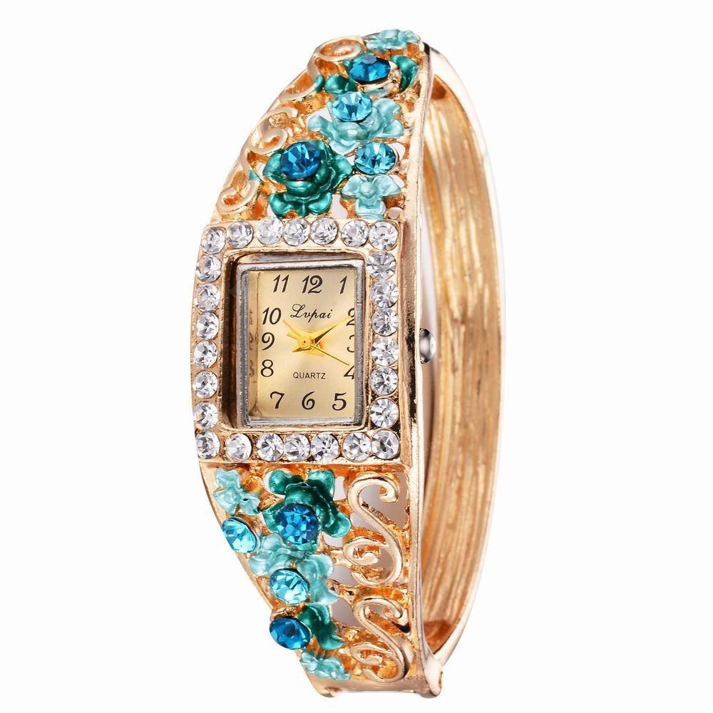 Lvpai P057 Women Unique Flowers Bangle Quartz Watches