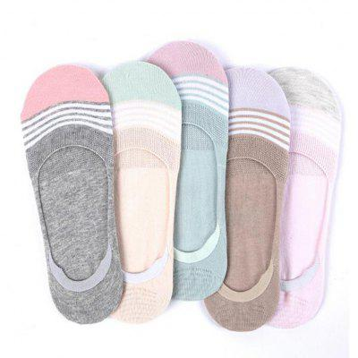 Women's 5 Pairs Invisible Socks Striped Breathable All Match Socks