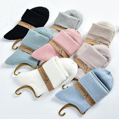 Women's 5 Pairs Crew Socks Sweet Solid Color Soft Breathable Crew Socks