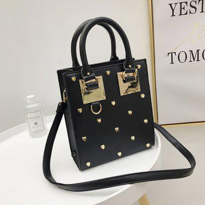 Personality Rivets Small Square Fashion Hand-Tempered Ladies Wild Trend Shoulder Messenger BagHandbags<br>Personality Rivets Small Square Fashion Hand-Tempered Ladies Wild Trend Shoulder Messenger Bag<br><br>Closure Type: Zipper<br>Embellishment: Rivet<br>Exterior: None<br>Gender: For Women<br>Handbag Type: Totes<br>Lining Material: Polyester<br>Main Material: PU<br>Number of Handles / Straps: Single<br>Occasion: Versatile<br>Package Contents: 1 x Bag<br>Package size (L x W x H): 21.00 x 10.00 x 24.00 cm / 8.27 x 3.94 x 9.45 inches<br>Package weight: 0.4200 kg<br>Pattern Type: Solid<br>Product size (L x W x H): 19.00 x 8.00 x 22.00 cm / 7.48 x 3.15 x 8.66 inches<br>Product weight: 0.4000 kg<br>Shape: Hobos<br>Style: Fashion<br>With Pendant: No